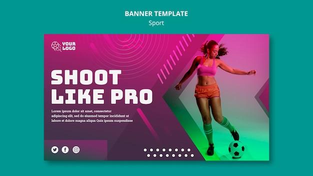 Modelo de banner de anúncio de treinamento de futebol