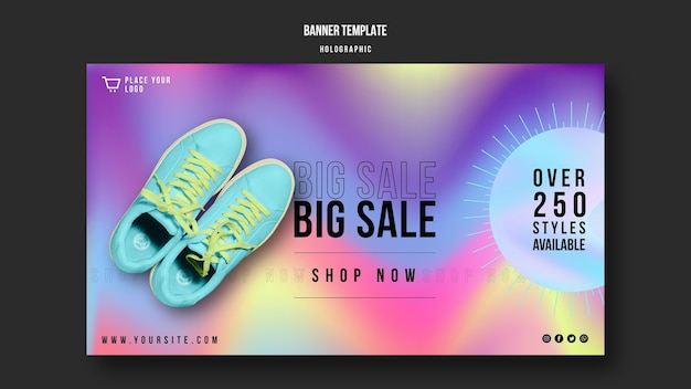 Modelo de banner de anúncio de venda de tênis