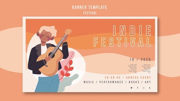 Modelo de banner de anúncio do festival