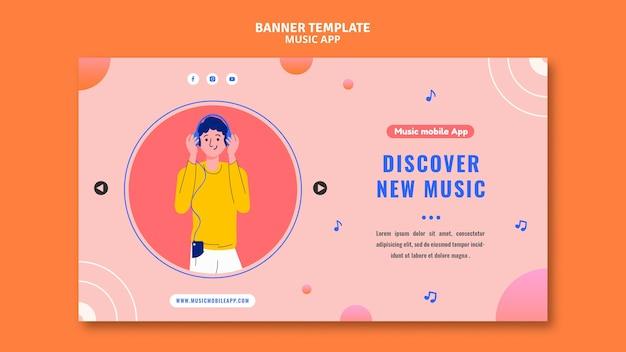 Modelo de banner de aplicativo para celular de música