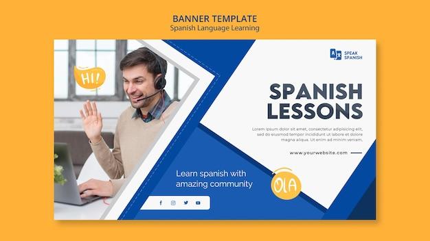 Modelo de banner de aprendizagem da língua espanhola