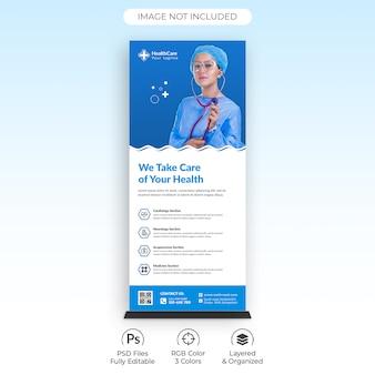 Modelo de banner de arregaçamento médico de cuidados de saúde