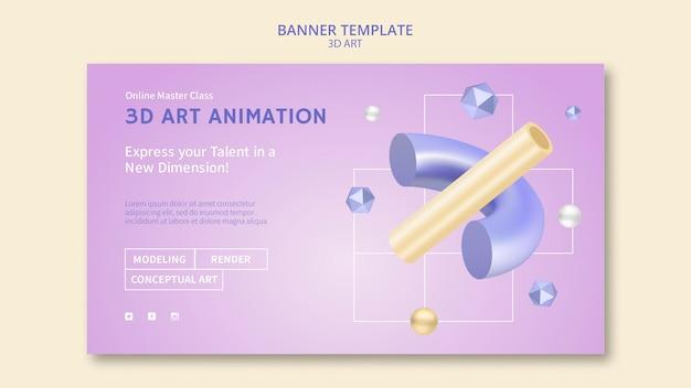 Modelo de banner de arte 3d
