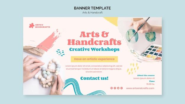 Modelo de banner de arte e artesanato