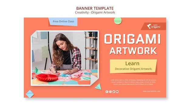 Modelo de banner de arte em origami