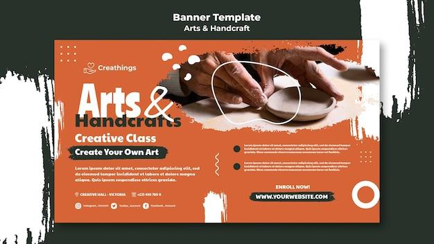 Modelo de banner de artes e artesanato