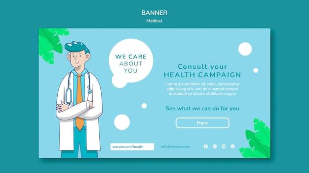Modelo de banner de assistência médica