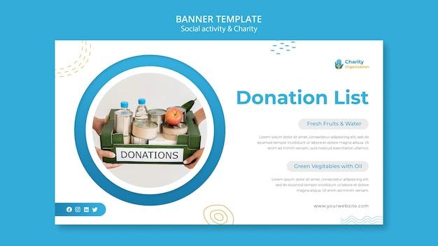 Modelo de banner de atividades de caridade