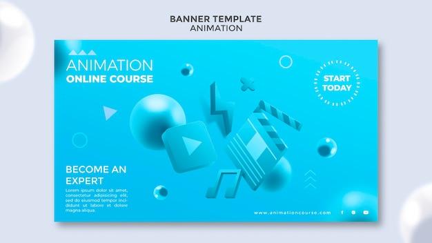 Modelo de banner de aula de animação