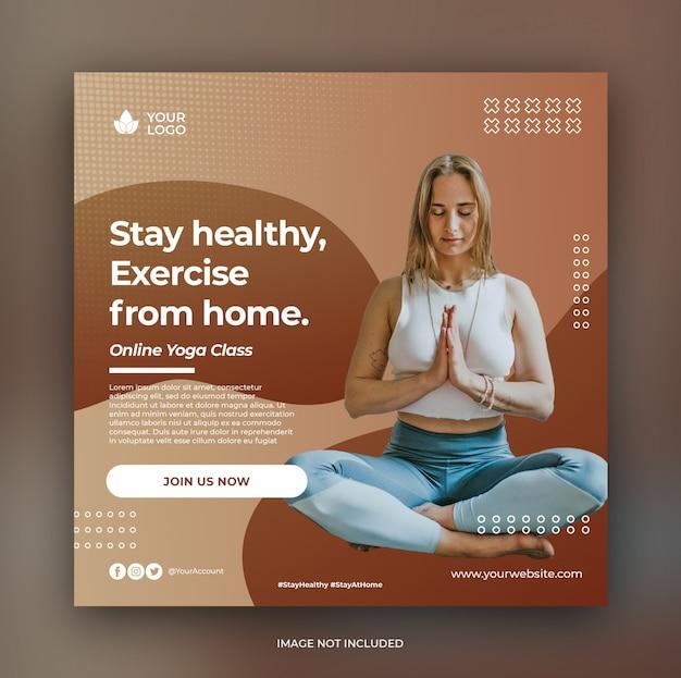 Modelo de banner de aula de ioga