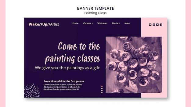 Modelo de banner de aula de pintura