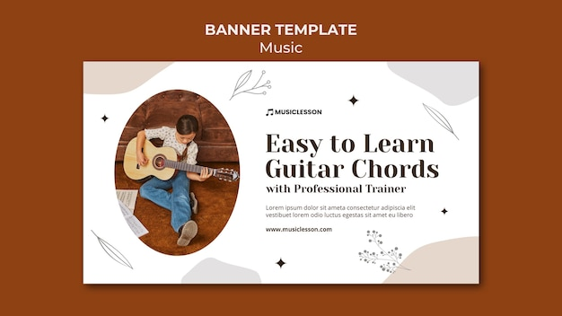 Modelo de banner de aulas de guitarra