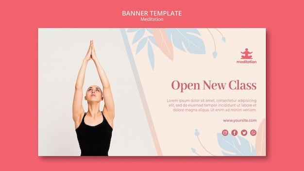 Modelo de banner de aulas de meditação com foto