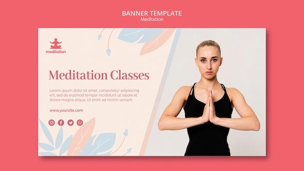 Modelo de banner de aulas de meditação