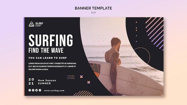 Modelo de banner de aulas de surfe com foto