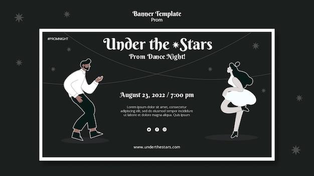 Modelo de banner de baile em preto e branco