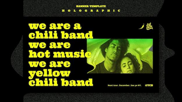 Modelo de banner de banda de música holográfica