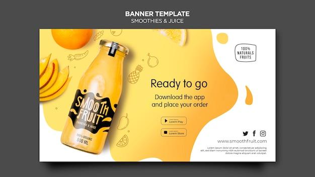 Modelo de banner de barra de smoothie