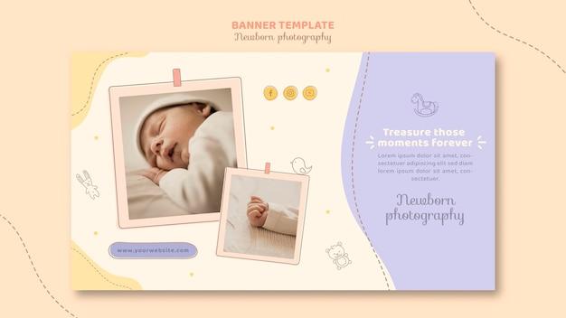 Modelo de banner de bebê fofo dormindo