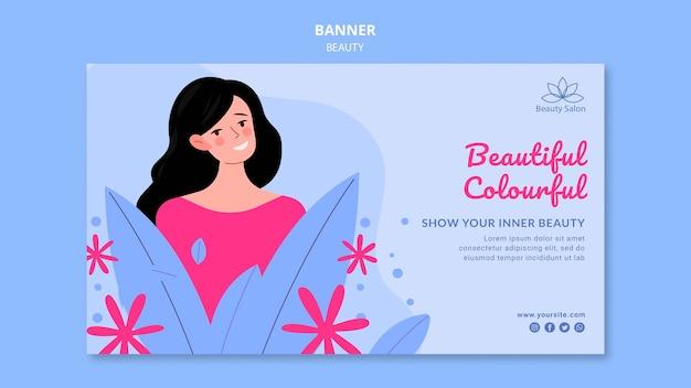 Modelo de banner de beleza ilustrado