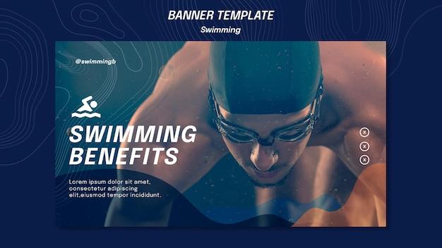 Modelo de banner de benefícios de natação