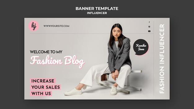 Modelo de banner de blogueiro de moda