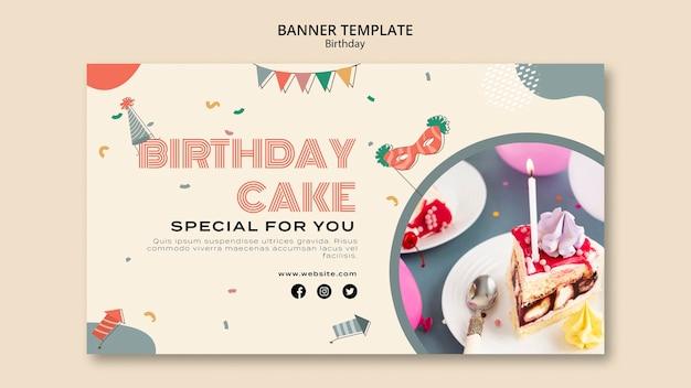 Modelo de banner de bolo de aniversário