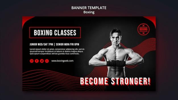 Modelo de banner de boxe com foto