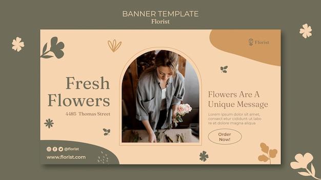 Modelo de banner de buquê de flores