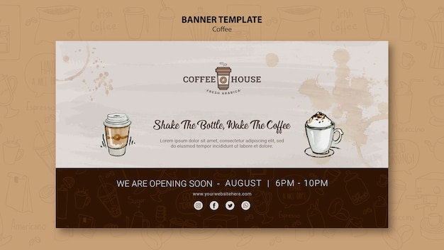 Modelo de banner de café com elementos de mão desenhada