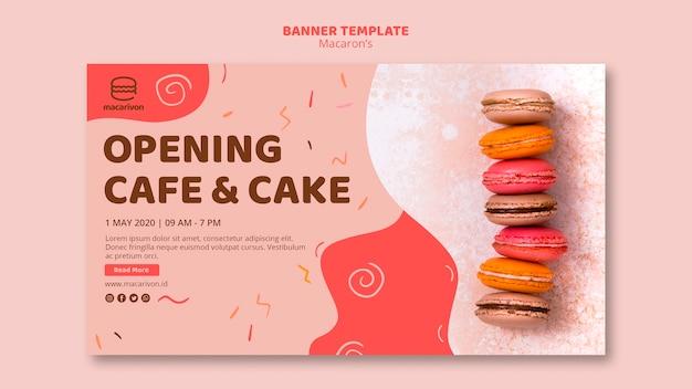 Modelo de banner de café e bolo de abertura