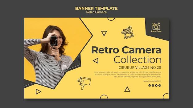 Modelo de banner de câmera retro