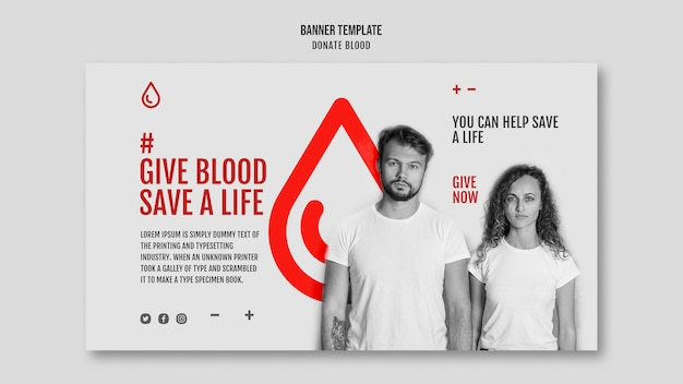 Modelo de banner de campanha de doação de sangue