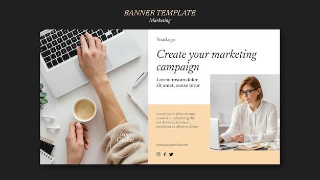 Modelo de banner de campanha de marketing