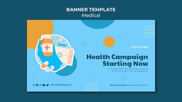 Modelo de banner de campanha de saúde
