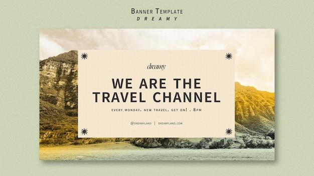 Modelo de banner de canal de viagens