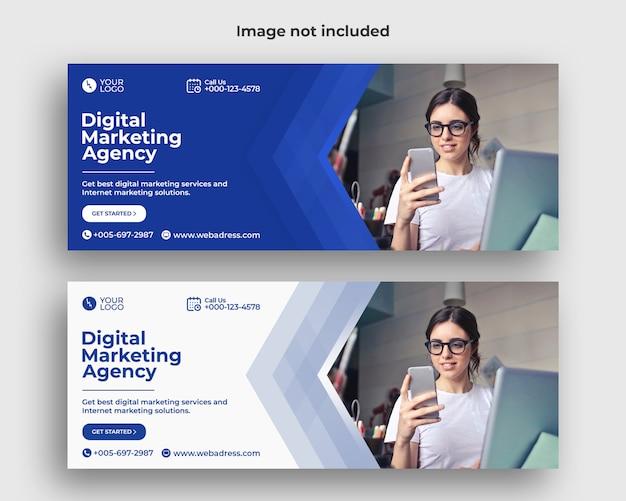 Modelo de banner de capa de facebook de marketing digital