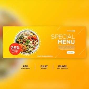 Modelo de banner de capa de facebook de menu especial
