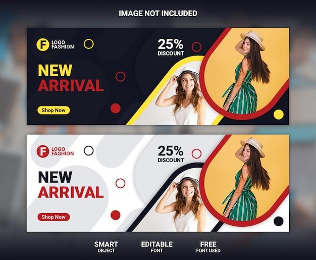 Modelo de banner de capa de facebook de moda