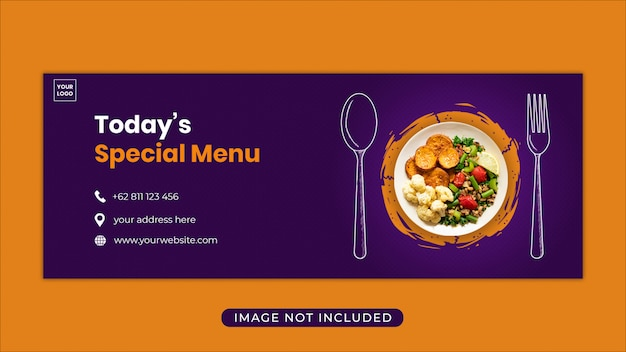 Modelo de banner de capa de facebook de promoção de menu de comida