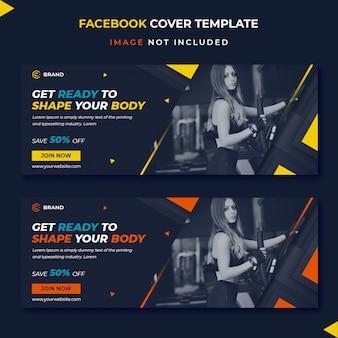 Modelo de banner de capa de facebook fitness