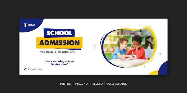 Modelo de banner de capa de mídia social para admissão escolar