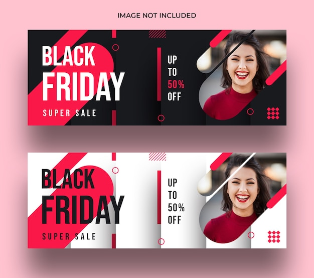Modelo de banner de capa do facebook da black friday