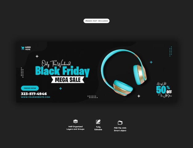 Modelo de banner de capa do facebook de mega-venda black friday