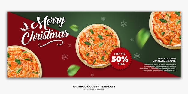 Modelo de banner de capa do facebook de natal editável para pizza no menu de fastfood de restaurante