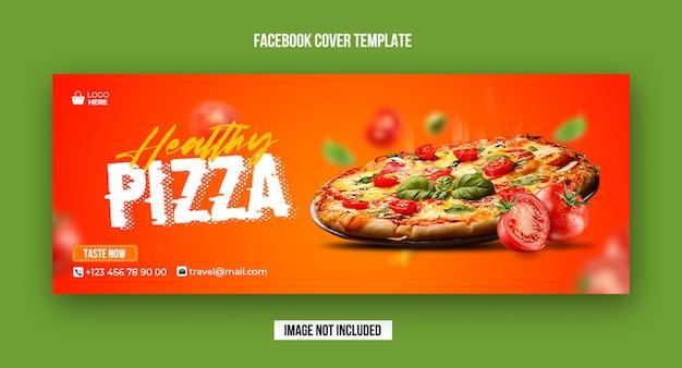 Modelo de banner de capa do facebook de pizza saudável