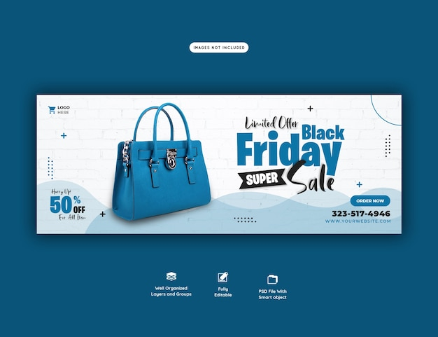 Modelo de banner de capa do facebook de super venda black friday