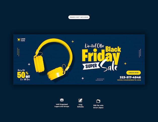 Modelo de banner de capa do facebook de super venda black friday