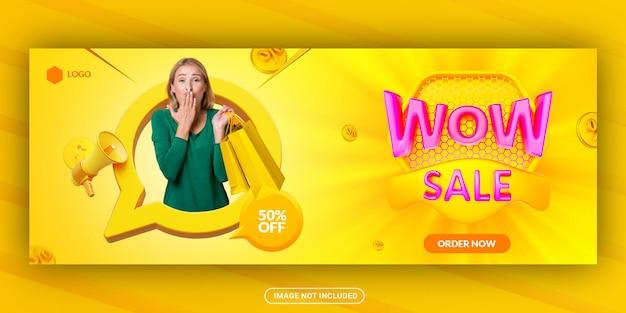 Modelo de banner de capa do facebook de venda de moda