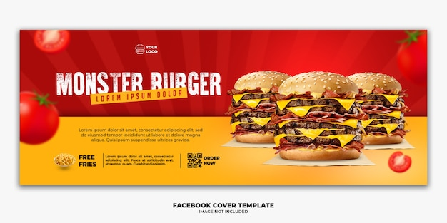Modelo de banner de capa do facebook menu de fast food especial big burger